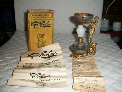 Antique Vapo Cresolene Vaporizer With Box And Directions