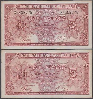 1943 Banque Nationale De Belgique (Belgium) 5 Francs (XF)