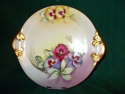 """W G & CO. LIMOGES FRANCE HAND PAINTED Pansy 10-1/2"""" PLATE signed Rosa Kelly   e"""
