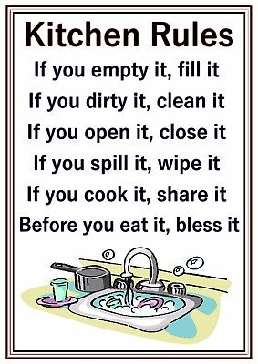 A4 POSTER SIGN Joke Novelty Funny Kitchen Cleaning Rules