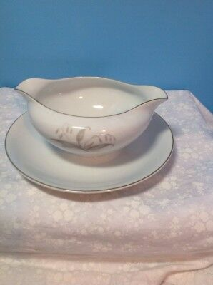 Vintage  Kaysons Golden Rhapsody Gravy Boat With Attached Plate