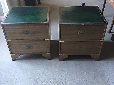 Pair Of Antique Vintage Mahogany Campaign Bedside,sideTables,cabinets