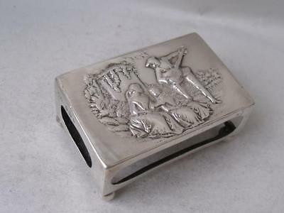 Romantic Hand-Embossed Solid Sterling Silver Match Box Holder 1900/ L 6.1 cm