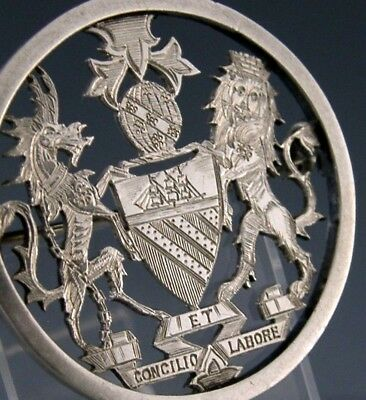 Rare Sterling Silver Manchester Coat Of Arms Brooch / Pendant 1877 Antique