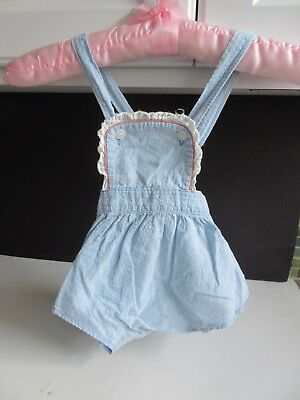 VTG Baby Girl's Light Blue Cotton Romper Sunsuit 9 Months ADORABLE!
