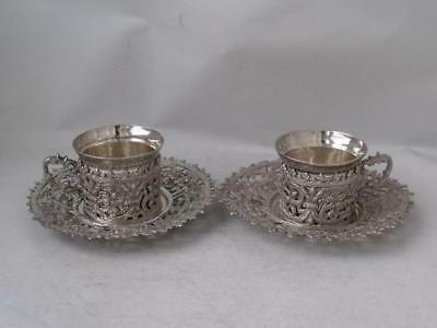 Pretty Pair of Decorative Egyptian Solid Silver Cups & Saucers c. 1910/ 161 g