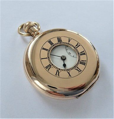 1900 10Ct Gold Plated Half Hunter Lever Pocket Watch In Working Order