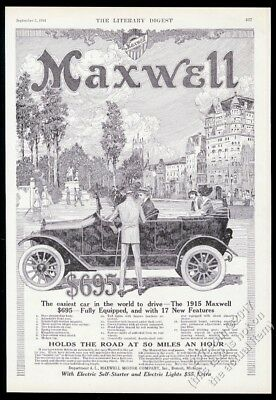 1915 Maxwell open touring car illustrated vintage print ad
