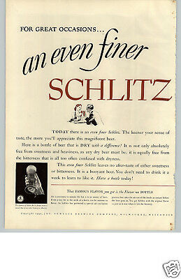 1940 PAPER AD ARTICLE 2 Pg Beer Schlitz Milwaukee Famous Dry Air-Exclusion
