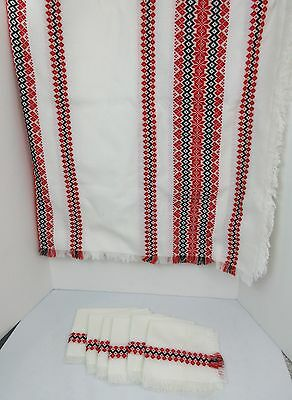 Vintage Hungarian HUNGARY HUCK WEAVE Table Cloth & Napkin Set RED BLACK WHITE