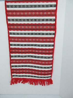 "Vintage Hungarian HUNGARY HUCK WEAVE Table Runner Scarf 35"" RED BLACK WHITE"