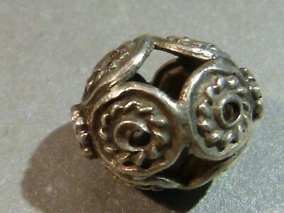 ANTIQUE SILVER SCROLLED BEAD COMPLEX 15 by 12 MM ASIAN MINOR AFGHAN