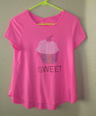 """** Justice Girls Size 16 Pink Top Shirt Bling  """"Sweet"""" Short Sleeves"""