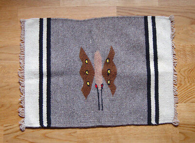 """Native American, Mexican?  VINTAGE Small Rug Matt Wool 15+"""" X 20+"""" Pictoral"""