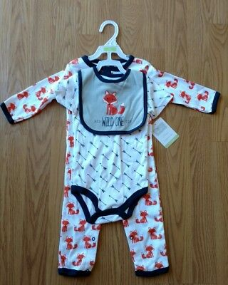 3 Pcs HUDSON BABY FOX Bodysuit 6-9 Months Sleeper Bib Set LS Arrows Boy Girl NEW