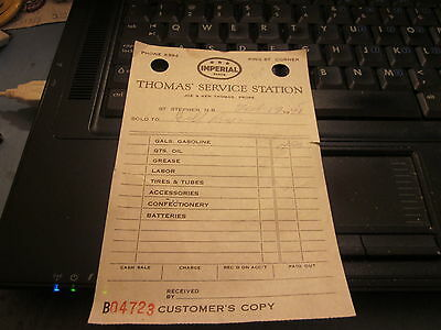 Imperial Oil ESSO Receipt from Thomas Service Station St Stephen N.B. 1948