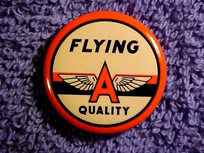 """FLYING A Quality Gasoline small 1 1/4"""" pinback button TIDEWATER OIL CO."""