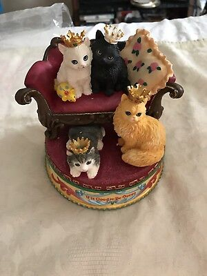 "San Francisco Music Box Co. ""It is Good to be Queen"" Mary Cats in Tiara N I B"