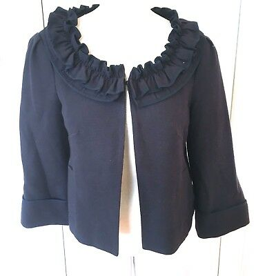 VINTAGE Nanette Lepore 10 Navy Blue Crop Woven Cotten Ruffled Collar JACKET USA