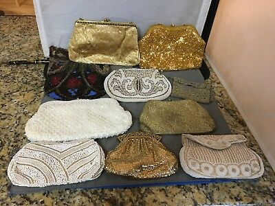 Great Lot of 10 Vintage Beaded/Metallic Evening Hand Bags - Overall Nice Shape!