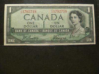 CANADA 1954 1$ DEVIL FACE BANK OF CANADA Prefix:T/A LOW ISSUE!!