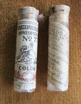 2 Humphrey's #77 Glass Tubes Different Homeopathic Cold MEdicine Cork Stoppers