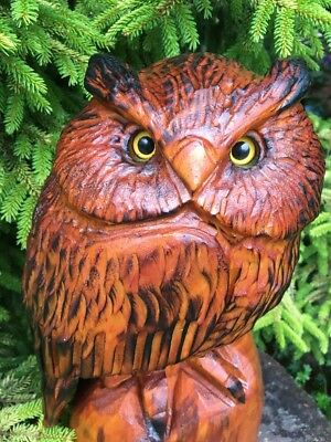 CHAINSAW CARVED HORNED OWL white pine WOOD CARVING STATUE RUSTIC LOG DECOR