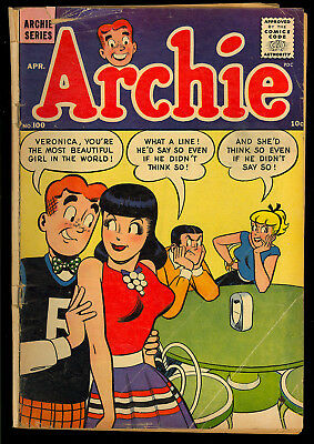 Archie Comics #100 Classic Good Girl Cover Betty Veronica Teen 1959 GD+