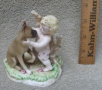 Vintage Ceramic Boxer Dog With Baby / Japan S 8406
