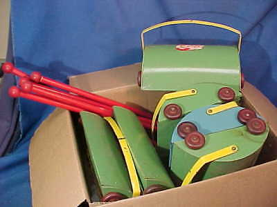 6-NOS 1940s CHILDRENS Metal TOY CARPET SWEEPERS Junior Set