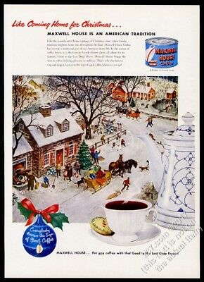1951 American small town Christmas art Maxwell House Coffee vintage print ad