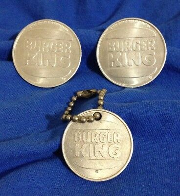 3 Vntage Burger King Metal Collector  Coins! ** FREE SHIPPING! **