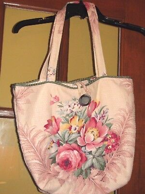 Beautiful Floral Barkcloth Tote  Vintage Fabric Abalone Button  Cream Pink Green