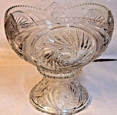 Beautiful EAPG American Brilliant Period Glass Punch Bowl & Stand Excellent Cond