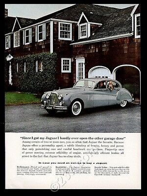 1958 Jaguar silver sedan car color photo vintage print ad