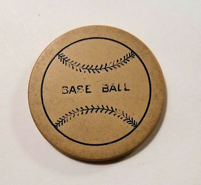 1910s Clay Poker Chip BASE BALL Motto On Baseball Figure Vintage