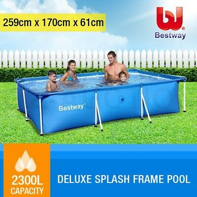 Bestway Deluxe Splash Frame Large Outdoor Family Swimming Pool 259x170x61cm