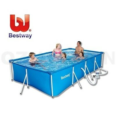 Bestway 4M Deluxe Rectangular Splash Frame Family Swimming Pool w/ Filter Pump