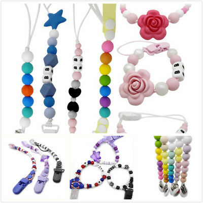 Infant Baby Silicone Pacifier Holder Clips Chain Dummy Nipple Bead Teether Strap