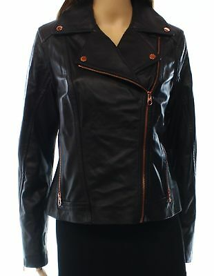 Ted Baker NEW Black Women's Size 8 Full-Zip Motorcycle Leather Jacket $675 #304