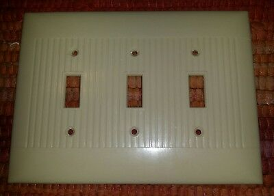 LG Vintage Mid Century Sierra BAKELITE 3 Toggle Triple  Light Switch Plate Lines