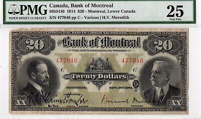 1914 $20 Canada,Bank of Montreal.PMG-25