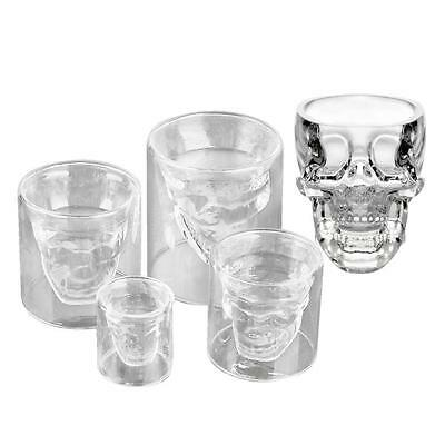 Crystal Glass Vodka Whiskey Skull Head Shot Cup Drinking Ware Home Bar Beer BX