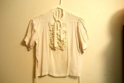 Vtg 1930's 40's Ivory Rayon Crepe Blouse Office Suit Top With Ties