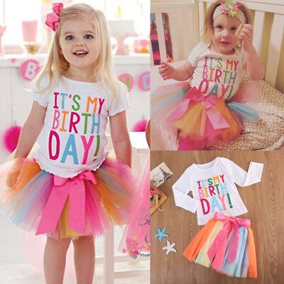 Baby Girls Kids Toddler ITS MY Birthday T-shirt+tutu Skirt Dress Outfit Clothes