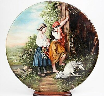19th Century Finely Painted Glass Plate Two Girls Mourning Dead Lamb