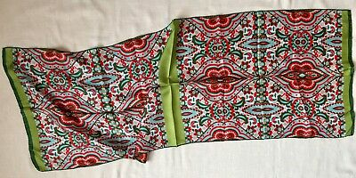 Long Vintage Paisley Silk Scarf Red Green White Blue Gray