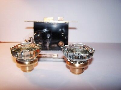 VINTAGE OLD ANTIQUE GLASS DOOR KNOB SET, AND HARDWARE, Clean
