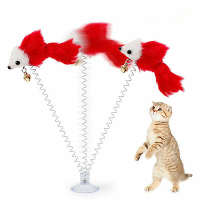 Wholesale Funny Cat Toys Multicolored Sucker With Spring Plush Mouse Pet Toys