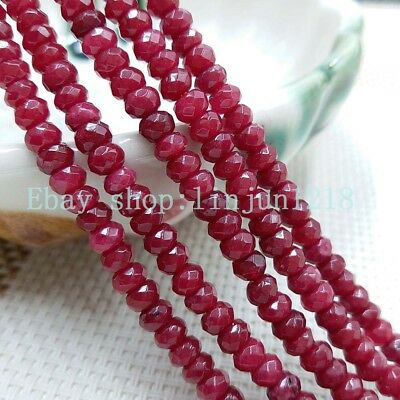 """2x4mm Natural Faceted Brazil Red Ruby Gemstone Rondelle Loose Beads 15""""*01"""